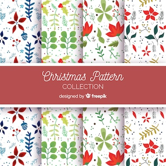 Christmas hand drawn floral pattern