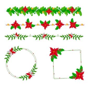 Рождественские нарисованные от руки рамки и бордюры
