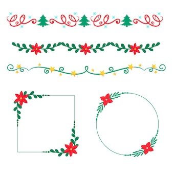 Christmas hand-drawn frames and borders