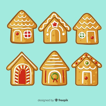 Christmas hand drawn gingerbread house pack