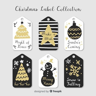 Christmas hand drawn gold labels pack