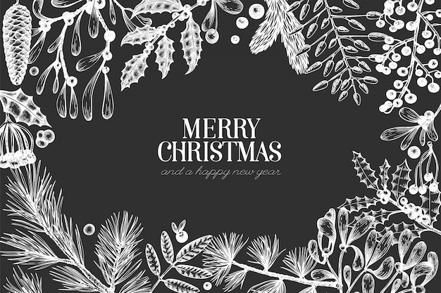 Christmas hand drawn greeting card template.
