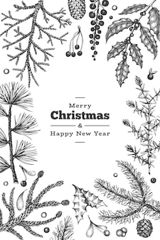 Christmas hand drawn greeting card template.