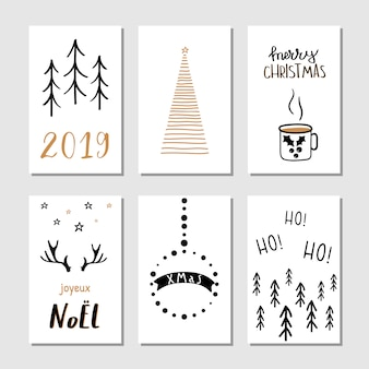 Christmas hand drawn greeting cards.