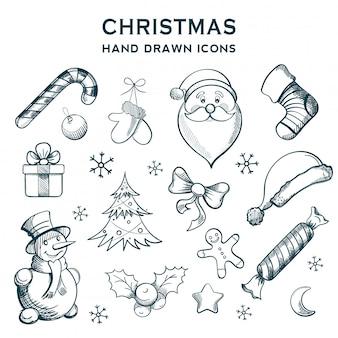 Рождественские рисованной иконки. оформление зимних праздников.
