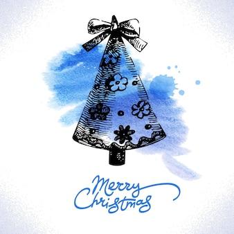 크리스마스 손으로 그린 그림, 수채화 배경