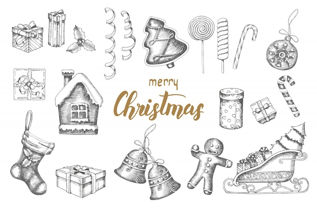 Christmas hand drawn objects doodle set. gingerbread, lollipops, gifts, bells, serpentine,santa's sleigh, sock