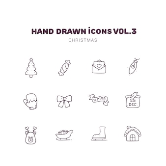 Christmas hand drawn outline icons