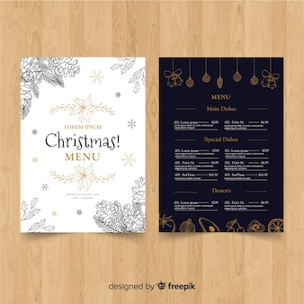 Christmas hand drawn pine cones menu template