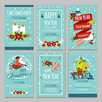 Christmas hand drawn poster set with christmas party 27th of december descriptions