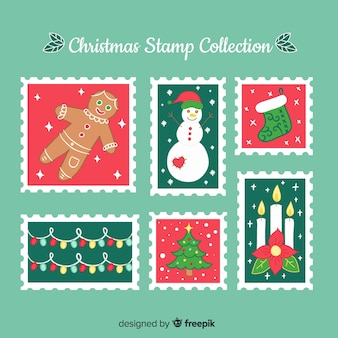 Christmas hand drawn stamp collection