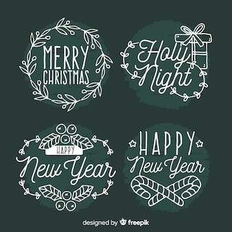 Christmas hand drawn stickers collection