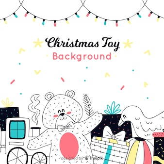 Christmas hand drawn toy background