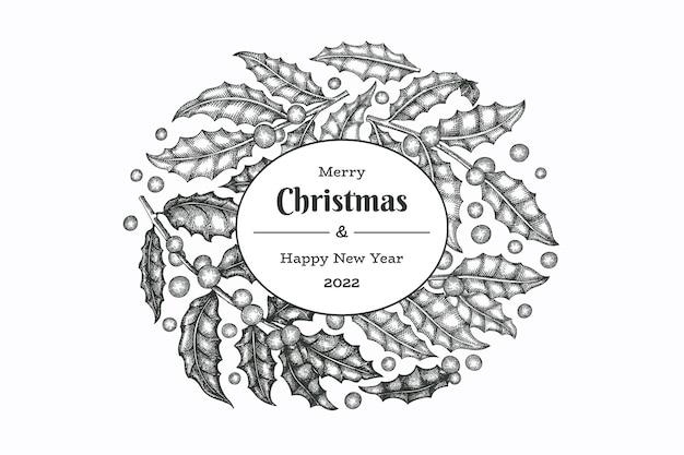 Christmas hand drawn vector greeting card design template. vintage style botanical illustration. winter plants xmas banner.