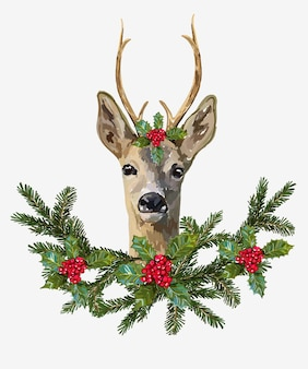Christmas hand drawn vector illustration of deer christmas wreath isolated on white background