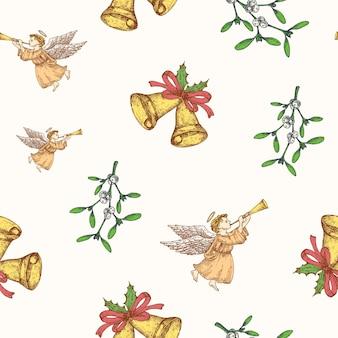 クリスマス手描きベクトルシームレスな背景パターン。天使、リボンとヤドリギのスケッチカードまたはカバーテンプレート付きの鐘。包装紙またはテキスタイルプリントの休日の装飾の壁紙