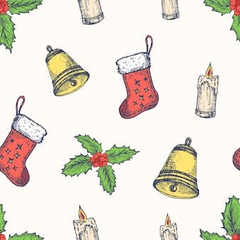 Christmas hand drawn vector seamless background pattern. gift socks, candle, bell and mistletoe sketches card or cover template. holiday decoration wallpaper for wrapping paper or textile print.