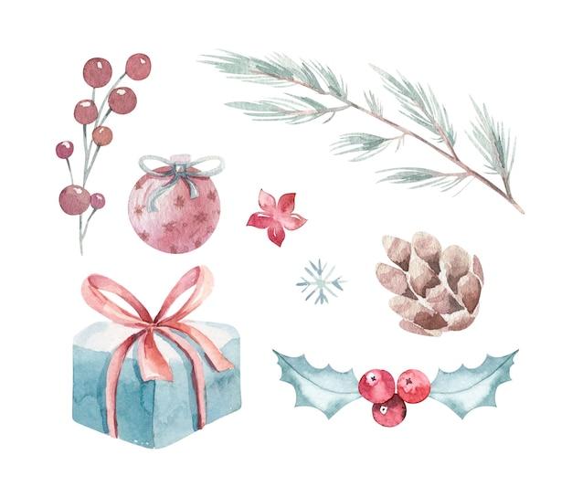 お祝いの装飾とクリスマス手描き冬水彩セットデザイン