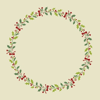 Christmas hand drawn wreath for cards design