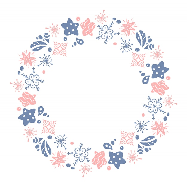 Christmas hand drawn wreath pink and blue floral winter design elements isolated