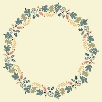 Christmas hand drawn wreath vector layout with copyspace.