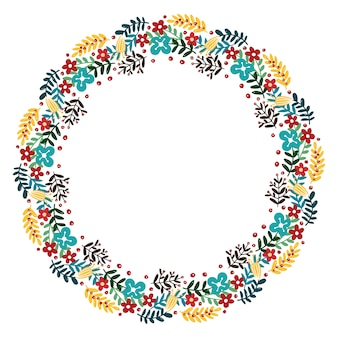 Christmas hand drawn wreath vector.