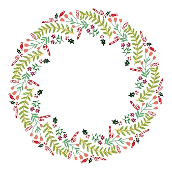 Christmas hand drawn wreath vector.