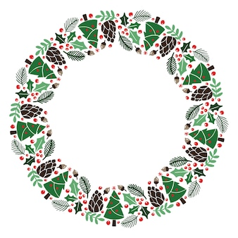 Christmas hand drawn wreath