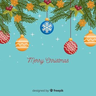 Christmas hanging balls background