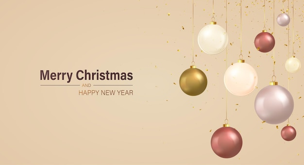 Christmas hanging bauble balls on ribbon with shiny falling golden confetti. merry christmas and happy new years banner, greeting card, poster, brochure.