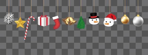 白い背景に飾られたクリスマス