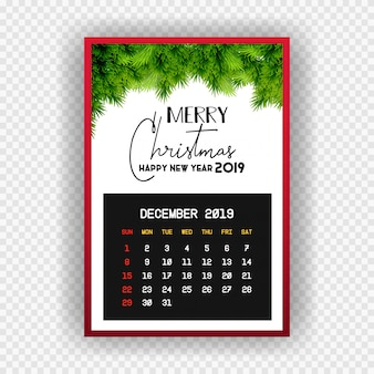 Christmas happy new year 2019 calendar december