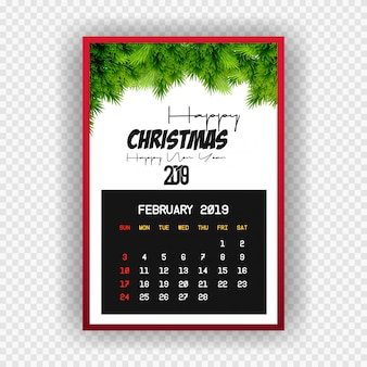 Christmas happy new year 2019 calendar february