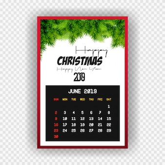 Christmas happy new year 2019 calendar june