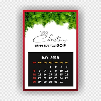 Christmas happy new year 2019 calendar may