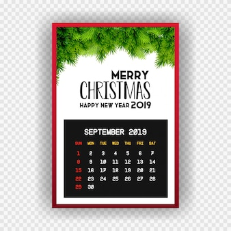 Christmas happy new year 2019 calendar september