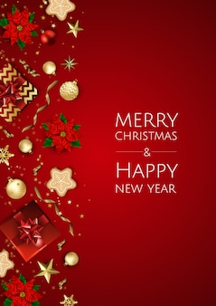 Christmas and happy new year background with decorative frame