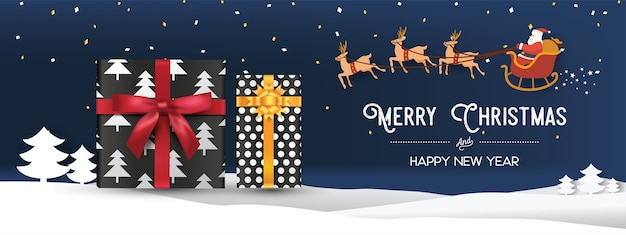 Christmas and happy new year banner with presents and santa claus