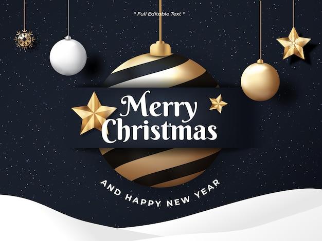 Natale e felice anno nuovo su sfondo nero