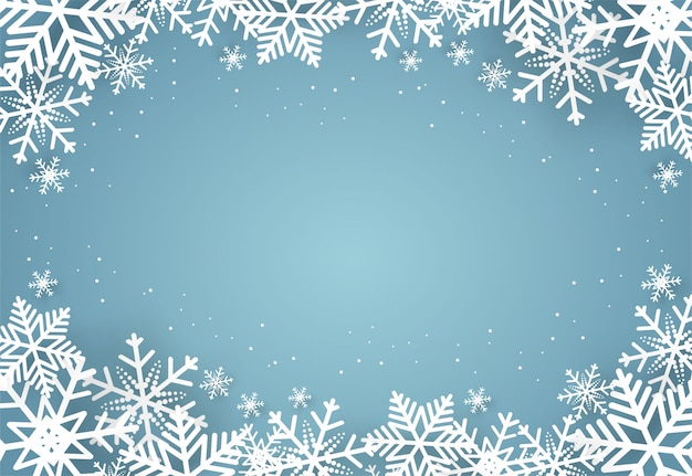 Christmas and happy new year blue  background with snowflake