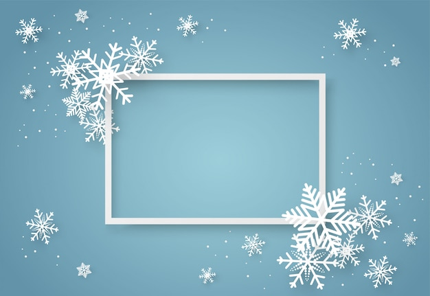 Christmas and happy new year blue vector background with snowflake