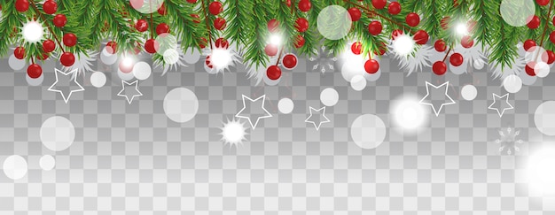 Christmas and happy new year border of christmas tree branches with holly berry on transparent background. holidays decoration.