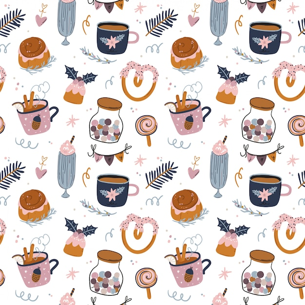 Christmas and happy new year cheerful seamless pattern. lovely winter illustration with cute and character traditional elements in scandinavian style. vector. good fabric design and wrapping paper