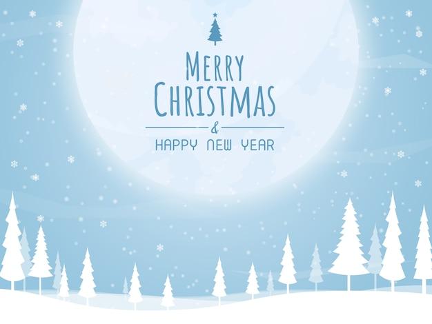 Christmas and happy new year,christmas tree big moon vector
