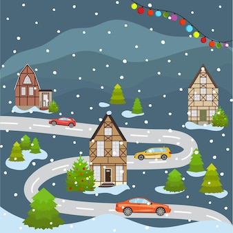 Christmas and happy new year city scape celebrating winter holidays cartoon old building town street