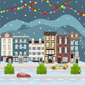 Christmas and happy new year city scape celebrating winter holidays cartoon old building town