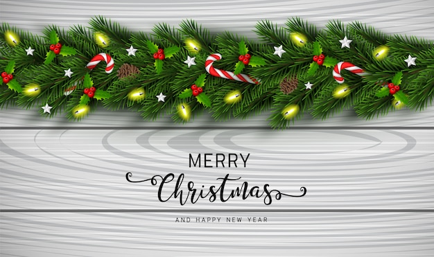 Christmas and happy new year garland background