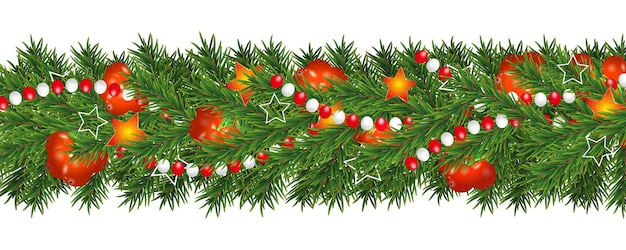 Christmas and happy new year garland and border of christmas tree branches decorated with holly berries, stars and beads.