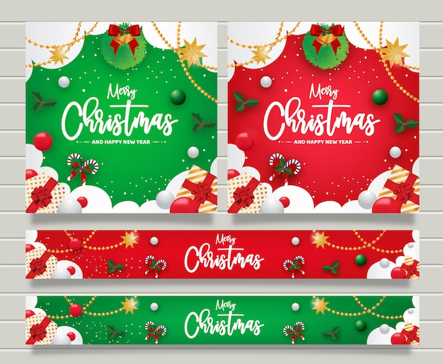 Christmas and happy new year greeting banner templte