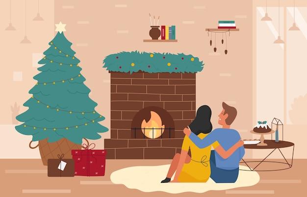 Рождество с новым годом праздники возле домашнего камина